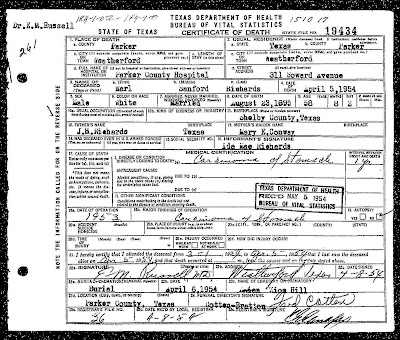 Richards Earl, Death Certificate