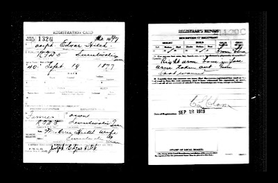 Joseph Edgar Hitch WWI Draft Registration Card Sweetwater Monroe Co TN