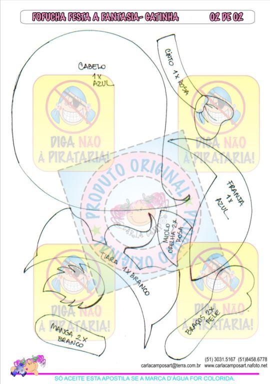 Molde Fofucha Plana Disfraz De Gatuno Carla Campos