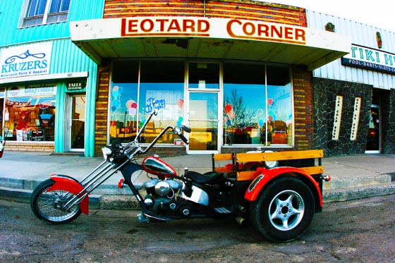 An interesting three-wheeled motorcycle parked outside Leotard Corner in Elko, Nevada.