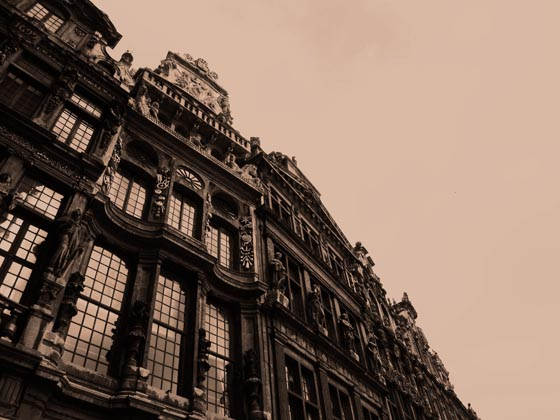 Looking up at a beautiful old building on a cold and overcast winter day at the Grote Markt in Brussels, Belgium.