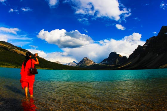 Beautiful blue water in the Canadian Rockies at Bow Lake.