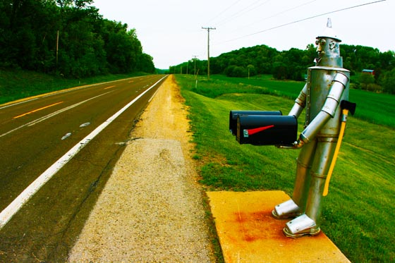 An impressive, full size, Wizard Of Oz Tin Man mailbox somewhere in rural Wisconsin.