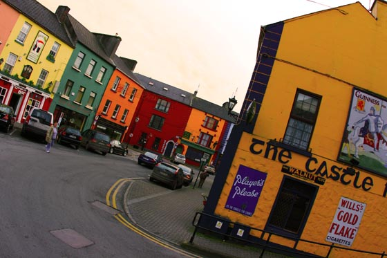 Colorful buildings lining the streets of Athlone, Ireland.