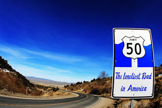 Highway 50 also known as the Loneliest Road In America in Austin, Nevada.
