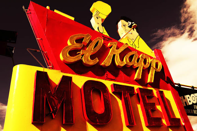 The super cool, vintage motel sign for the El Kapp Motel in Raton, New Mexico.