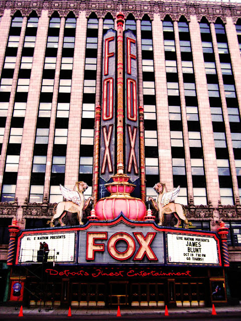 The Fox Theater marquee sign in downtown Detroit, Michigan.