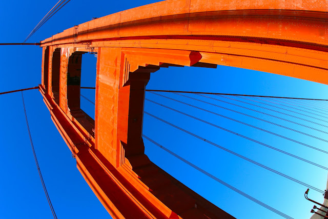 Looking up while walking on the Golden Gate Bridge in San Francisco, California.