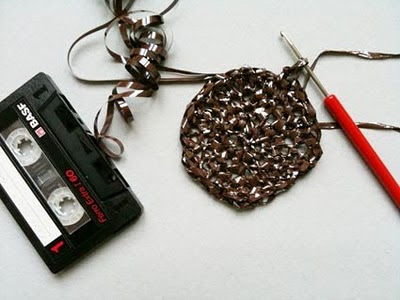 recycling ideas:  cassette crochet purse