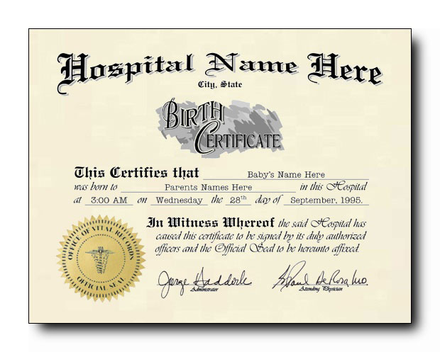 birth certificate template - one option means no choice half blank