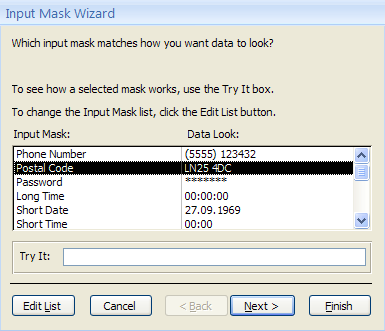 how to add an input mask in access