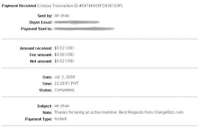 OrangeBizs Proof of Payment