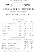 Trade advertisement of W & J Lucock of Dorking, c1871-90