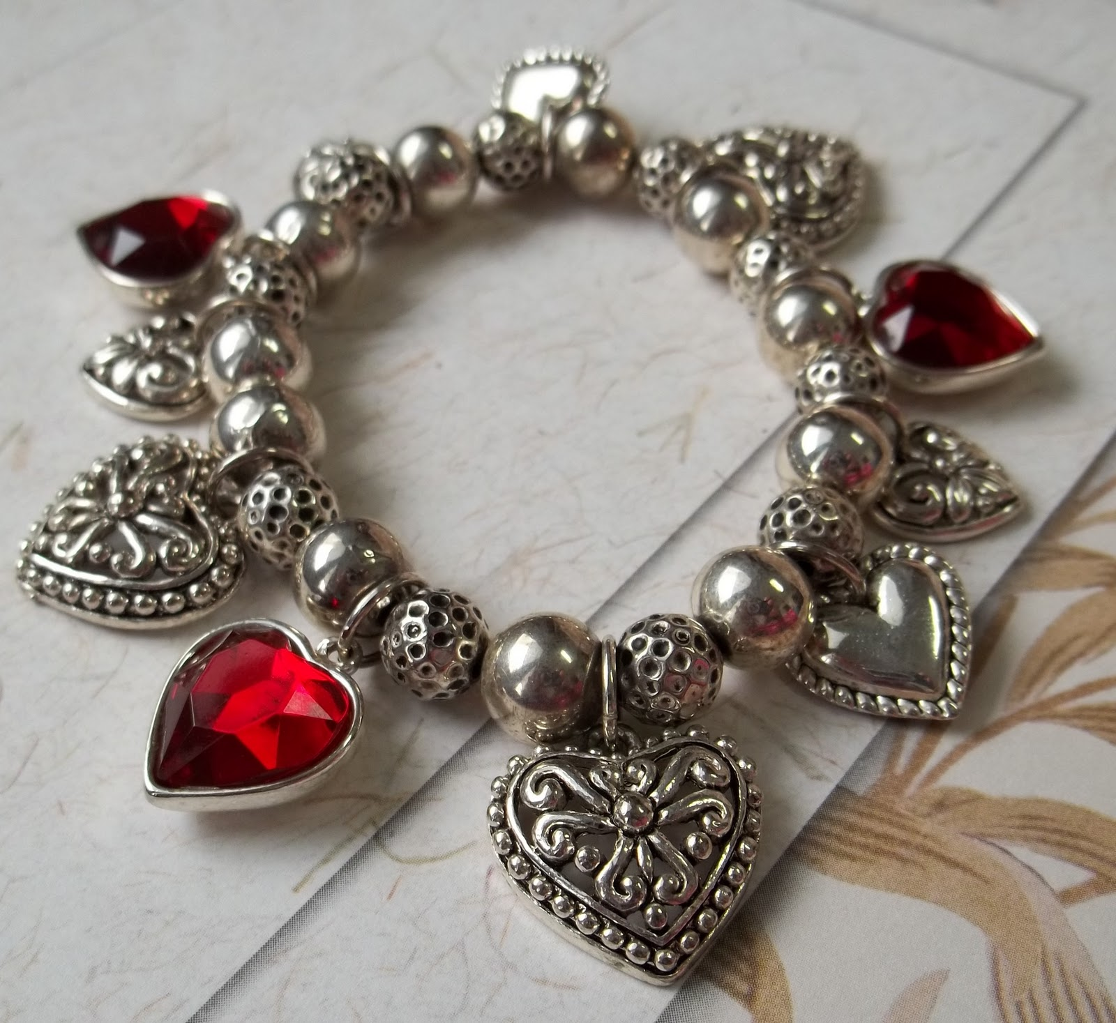 bracelet lily valentine charmed with linked hearts silver jewellery message my card