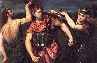 Perseo armado por Hermes y Atenea