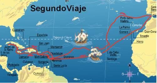 Mapa de ruta del Segundo viaje de Cristóbal Colón al Nuevo Mundo