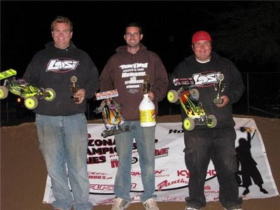 Losi-Nitrotane drivers Casey Peck, Chris Wheeler and Billy Fischer finish 1-2-3 in the buggy class.