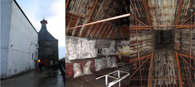 left - pagoda at knockdhu distillery, centre - inside the pagoda, right - view up in to pagoda vent