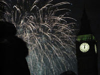 big ben and fireworks, new year's day 2011