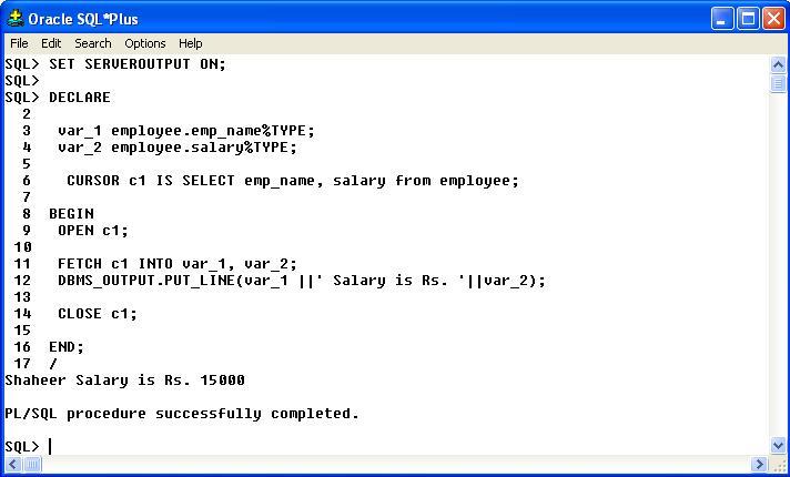 PL/SQL Explicit Cursor with Examples