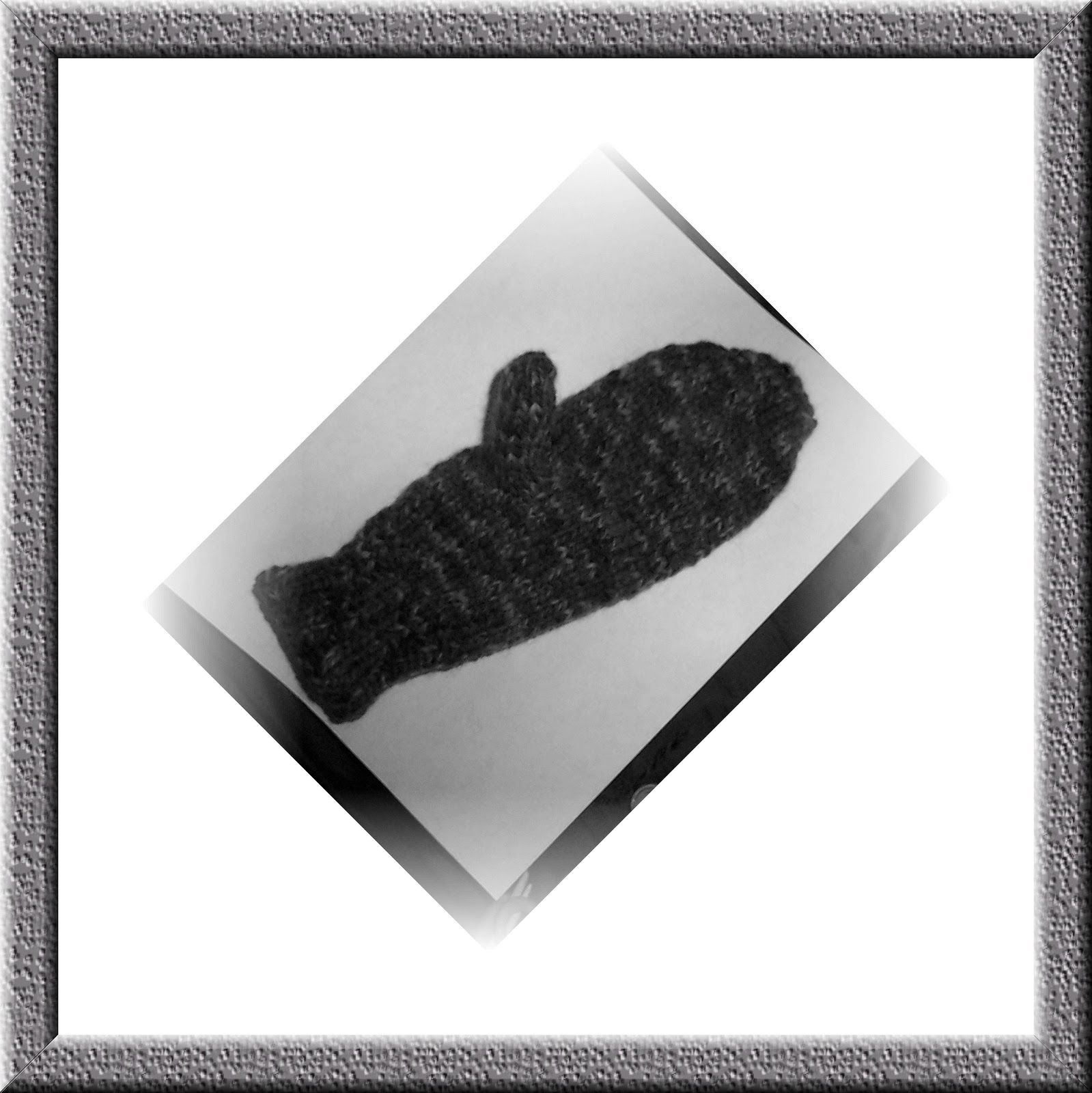 "Mitten Black And White ""black and white mitten on"