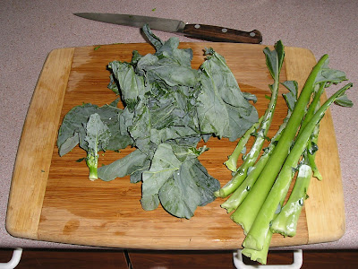 Preparing brassica leaves such as chard, broccoli, kale or cabbage