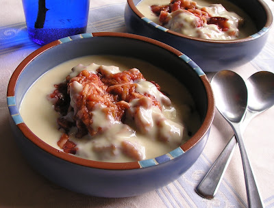 Plum and Apple Compote with Custard