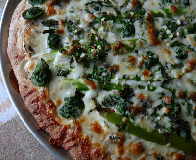 Pizza with Asparagus Fiddleheads Mushrooms and Ramps