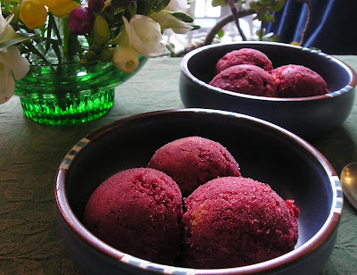 Sour Cherry and Apricot Sorbet made in the food processor