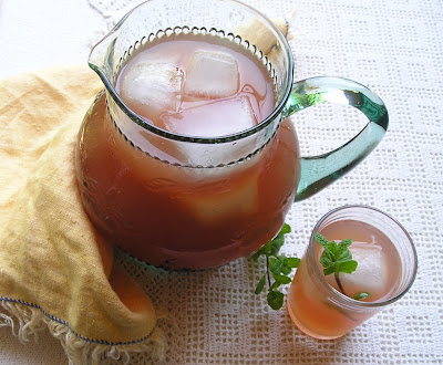Quaker Punch made with tea, ginger, mint and rhubarb