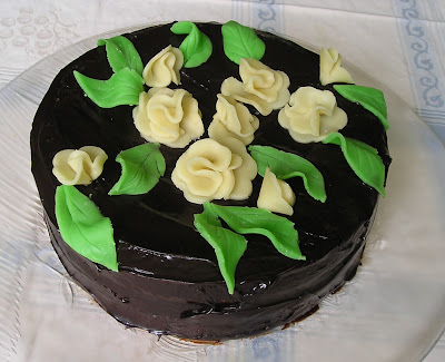 Chocolate Glazed Hazelnut Torte with Marzipan Flowers
