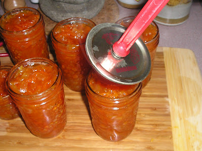 Making Marmalade - putting on the lids