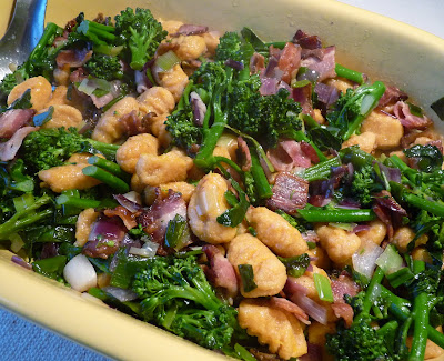 Squash Gnocchi with Broccoli, Bacon and Dried Tomato