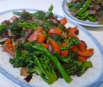 Stir Fried Broccoli with Red Peppers and Onions