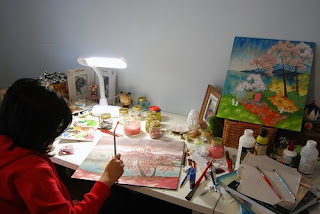 Noferin working in studio. 2009