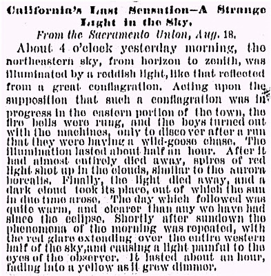 California's Last Sensation A Strange Light in the Sky Sacramento Union 8-18-1869