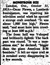 Monstrous Size V-Shaped UFO - Eastern Evening News - 10-31-1953