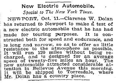 New Electric Automobile - New York Times 10-11-1900