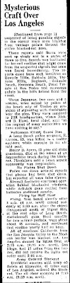 Mysterious Craft Over South California (Cont) - The Greely Daily Tribune 2-25-1942