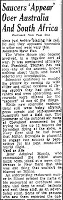 Saucers Appear Over Australia and South Africa Today (Cont) - Albuquerque Journal 7-9-1947