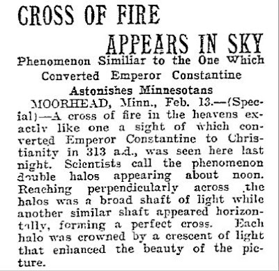 Cross of Fire Appears in Sky - Morning Telegram 2-14-1906