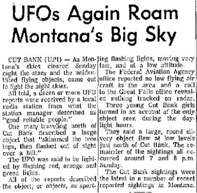UFOs Again Roam Montana's Big Sky - Billing's Gazette 2-6-1967