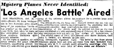 Mystery Planes Never Identified - The San Antonio Light - 10-29-1945