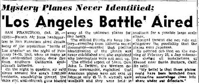 Mystery Planes Never Identified - The San Antonio Light - 10-29-1945