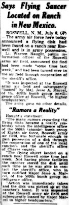Army Declares Flying Disk Found  (Body) - Spokane Daily Chronicle 7-8-1947