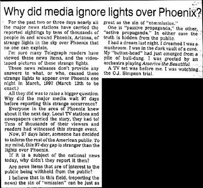 Why Did The Media Ignore The Lights Over Phoenix - Alton Telegraph 7-7-1997