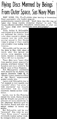 Flying Discs Manned By Beings From Outer Space, Says Navy Man - Oakland Tribune 2-23-1950
