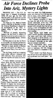 Air Force Declines Probe Into Ariz Mystery Lights - Daily Sitka Sentinel 7-18-1997