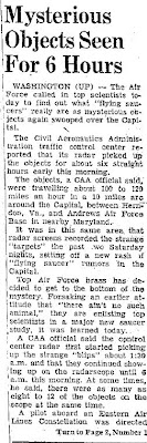 8 To 12  Saucers Appear Over Washington Again; U.S. Calls in Scientists (Body 1) - Chester Times 7-29-1952