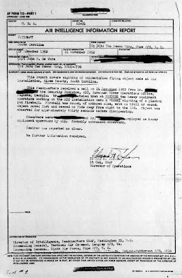 UFOs Sighted Near Savanah River H-Bomb Plant -Air Force Report 11-21-1952